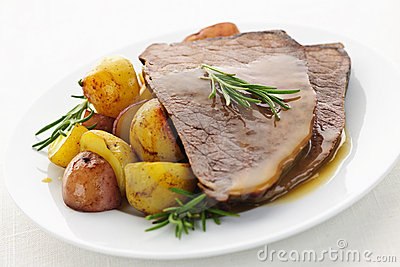 Roast beef and potatoes