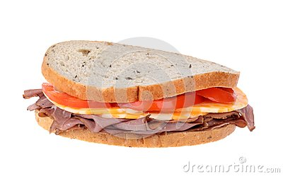 Roast Beef on Rye Sandwich Isolated
