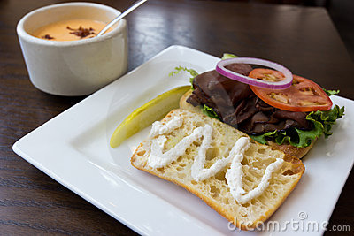 Roast Beef Sandwich and Soup