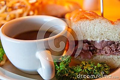 Roast Beef Sandwidh and Au Jus