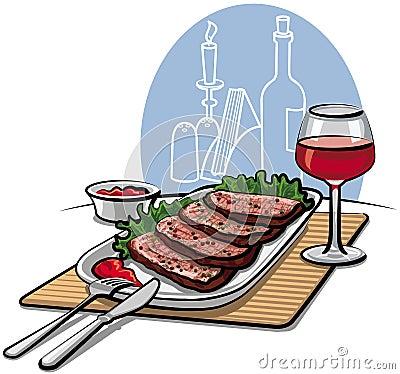 Roast beef and wine
