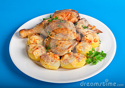 Roast chicken with potatoe