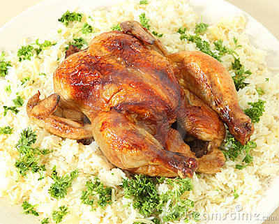 Roast chicken and rice high angle