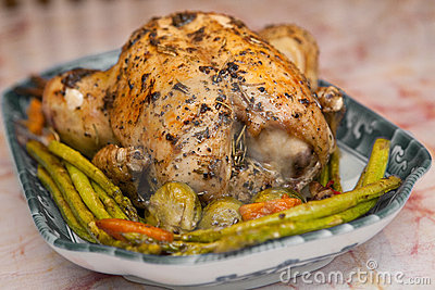 Roast chicken with roasted asparagus