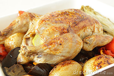 Roast chicken and vegetable