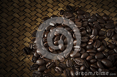Roast coffee bean on wood
