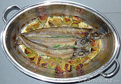 Roast  herring fishes in a pot