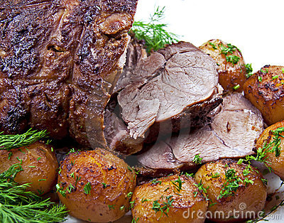 Roast leg of lamb.