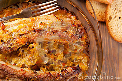 Roast Pork Ribs with Cabbage