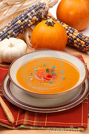 Free Roasted Bell Pepper Pumpkin Soup Royalty Free Stock Image - 16431786