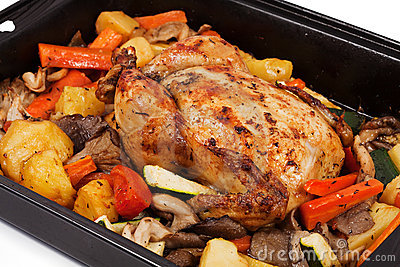 Roasted chicken with assortment of vegetables