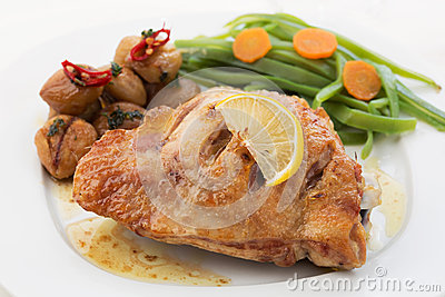Roasted chicken breast with chestnuts