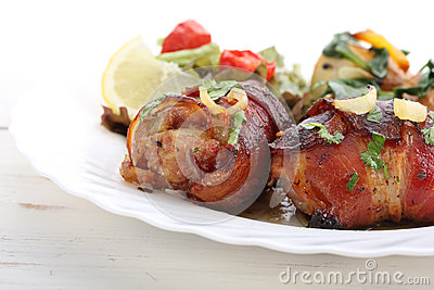 Roasted chicken breast rolls with bacon