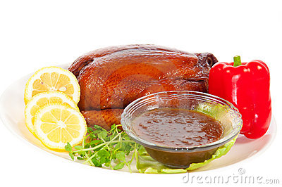 Roasted Chicken for Christmas with chill and Lemon