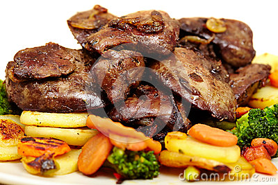 Roasted chicken liver with veggies