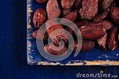 Roasted cocoa chocolate beans on dark blue wood