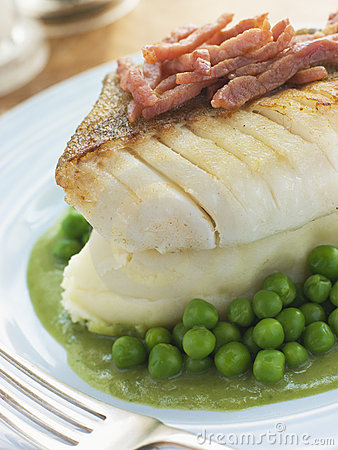 Roasted Cod Fillet with Mash Potato Peas and bacon