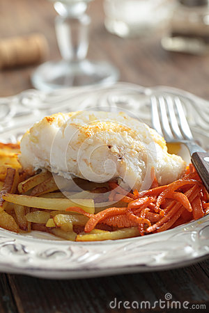 Roasted cod with vegetables