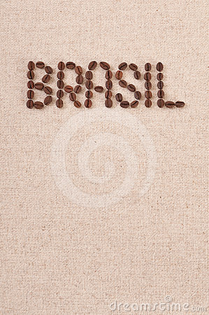 Roasted coffee beans on canvas : Brasil