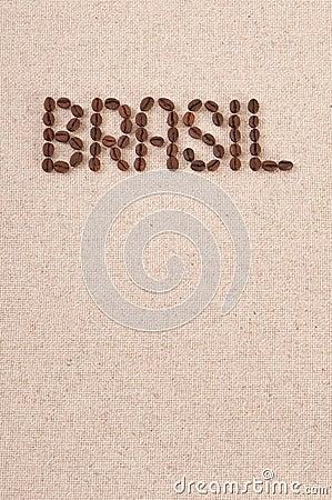 Roasted coffee beans on canvas : Brasil