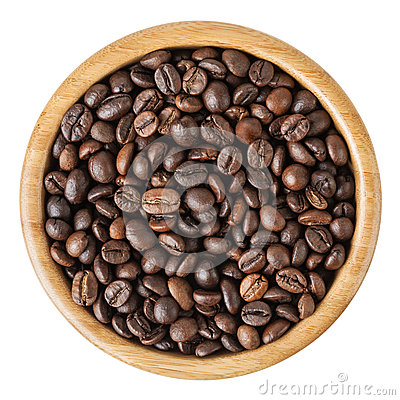 Free Roasted Coffee Beans In Wooden Bowl Isolated On White Background Stock Photography - 85566892