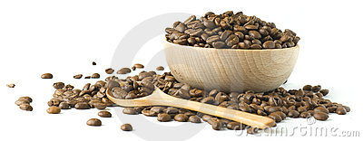 Roasted coffee beansin a wooden cup