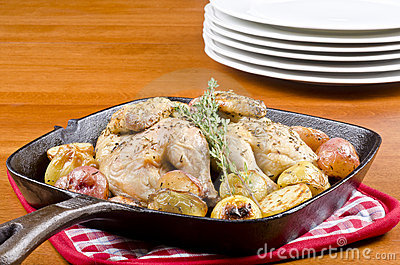 Roasted Cornish Game Hen and Potatoes