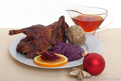 Roasted duck at christmas