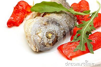 Roasted fish with garnish