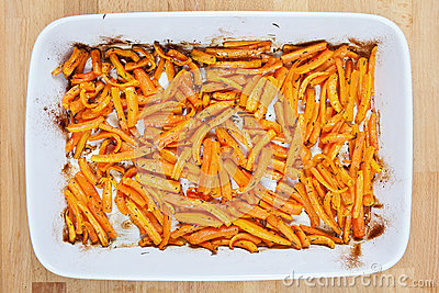Roasted fresh organic carrots with olive oil