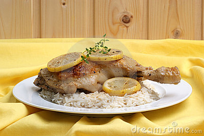 Roasted lemon chicken on organic rice