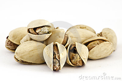 Roasted pistachio on isolated background