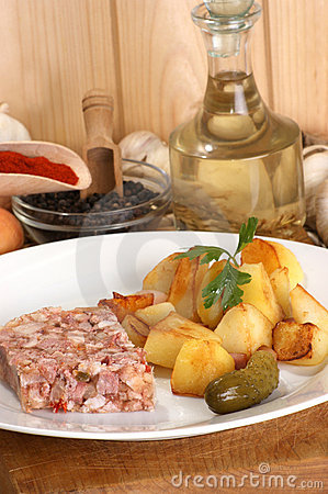 Roasted potato with cured meat