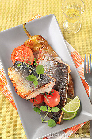 Roasted salmon trout fillets