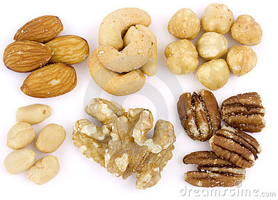 Assortment of Mixed nuts on white background
