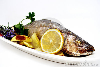 Roasted sea bass