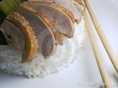 Roasted Sliced Duck With Rice