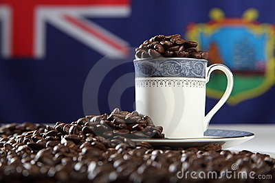 Roasted StHelena Island coffee beans with flag