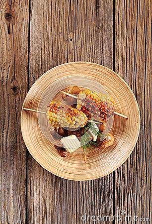 Roasted sweet corn and mushrooms