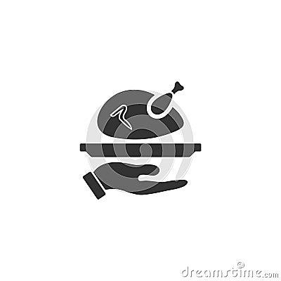Roasted turkey icon flat Vector Illustration