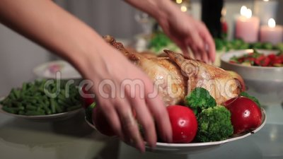 Roasted turkey serving on Thanksgiving table stock video footage
