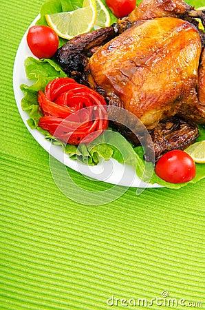 Roasted turkey on the  table