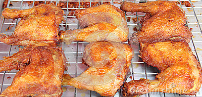 Roasting chicken on Footpath in Thailand