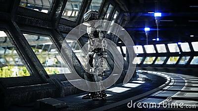 Robô no tonnel de Sci fi Conceito do futuro Anima??o 4K real?stica video estoque