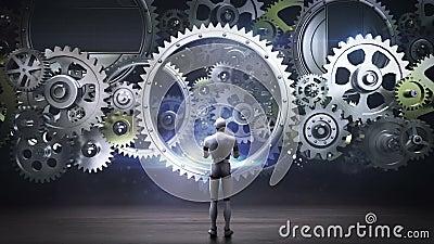 Robô, cyborg que está as rodas de engrenagem grandes, rodas de engrenagem de conexão inteligência artificial, informática  ilustração do vetor