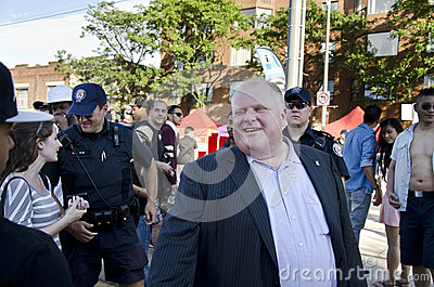 Rob Ford visits Salsa on St.Clair,2012 Editorial Stock Image