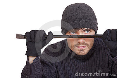 Robber With Crowbar Royalty Free Stock Image - Image: 15671606