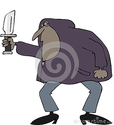 Robber in a hooded sweatshirt