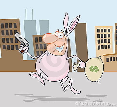 Robber running through a city in a bunny costume
