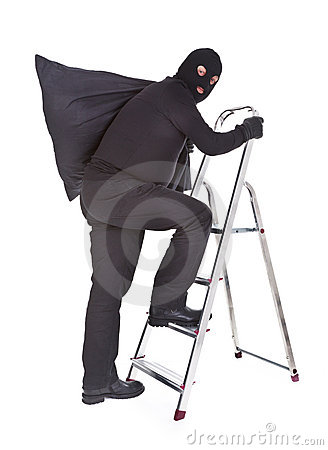 Robber with sack on ladder